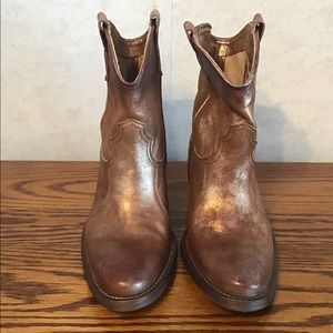 Arnold Churgin Gold and Bronze Leather Ankle Boots
